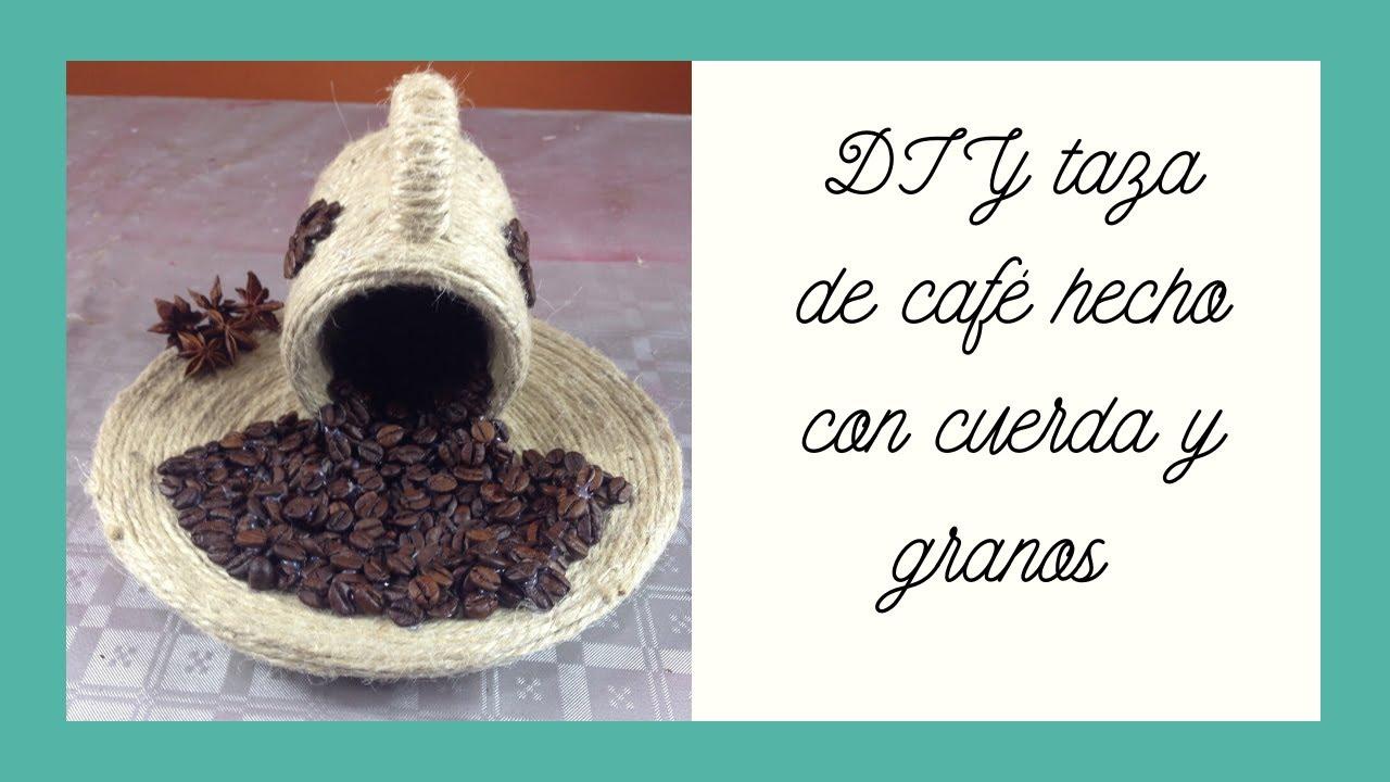 Taza de caf con cuerda y granos cup and saucer with for Decoracion con tazas de cafe