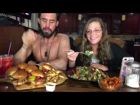 Spicy chicken sandwiches/ buffalo chicken salad mukbang