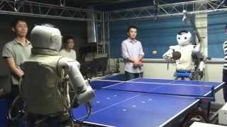 Robot plays table tennis (vs Robot, vs Human)