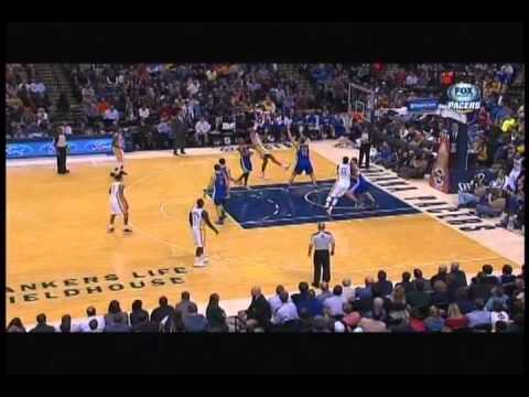 Pacers vs. Warriors Brawl...Roy Hibbert Throws Steph Curry Down
