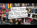 How I store my VERY LARGE Shoe Collection!!! Shoe Storage Ideas!!!