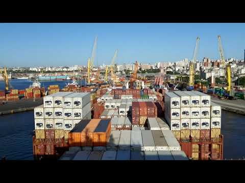 Container vessel departing from Montevideo, Uruguay