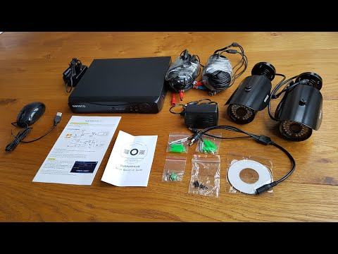 Unboxing and setup of a SANSCO 1080N DVR Recorder with 2x 1.3MP Outdoor Cameras and 1TB Hard Drive