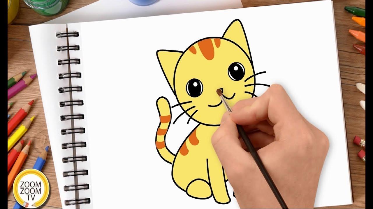 Hướng dẫn cách vẽ CON MÈO CON – Tô màu Con Mèo CON – How to draw a Kitty