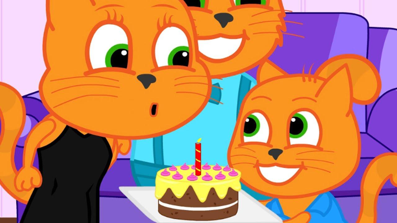 Família de Gatos - Bolo de Aniversário Para a Mãe Animado em Português Brasil 13+
