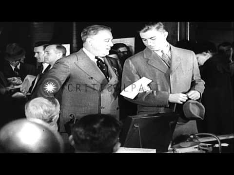 US President Franklin D Roosevelt and Governor of Kansas Alfred M Landon arrives ...HD Stock Footage