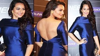 Beautiful Actress Sonakshi Sinha Exposing Creamy Hot Back @ Global Indian Music Awards 2014