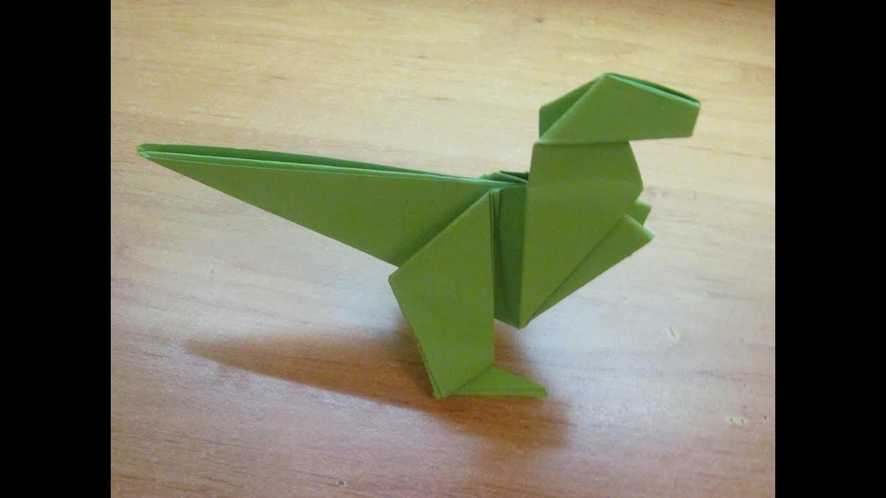 Динозавр из бумаги оригами. Бумажный динозавр. Paper dinosaur origami