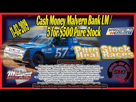Pure Stock Heat Races 5 for $500 Springfield Raceway 11➜03➜2019  Dirt Track Racing