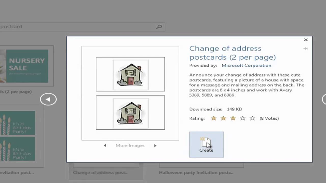 Printing postcards in word 2010