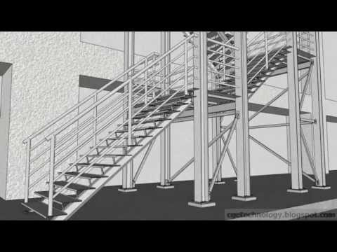 Sketchup Animation *R*Ct**N Of A Structural Steel Staircase | Structural Steel Stair Design | Steel Construction | 4 Column Steel | Detailing | Steel Staircase | Small Space