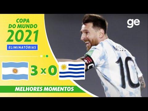 ARGENTINA 3 x 0 URUGUAI  MELHORES MOMENTOS   5ª RODADA ELIMINATÓRIAS DA COPA   ge.globo