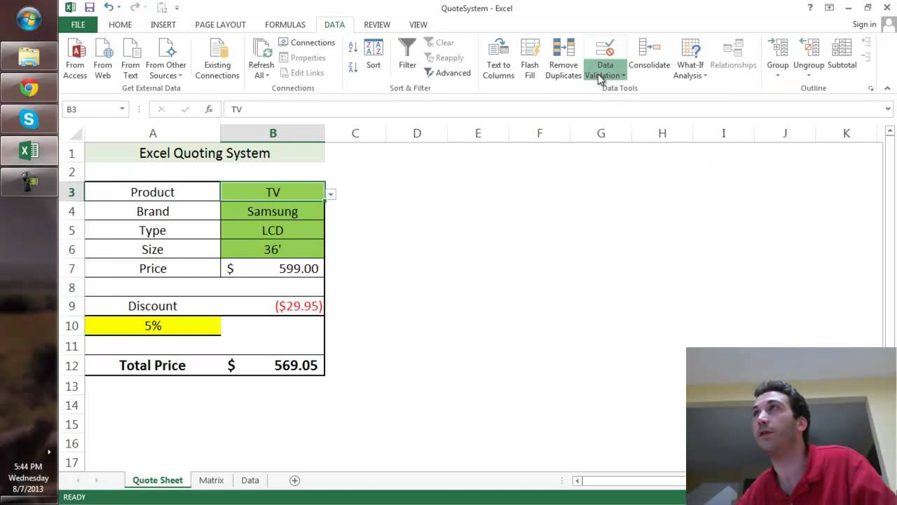 creating a quote sheet in excel youtube