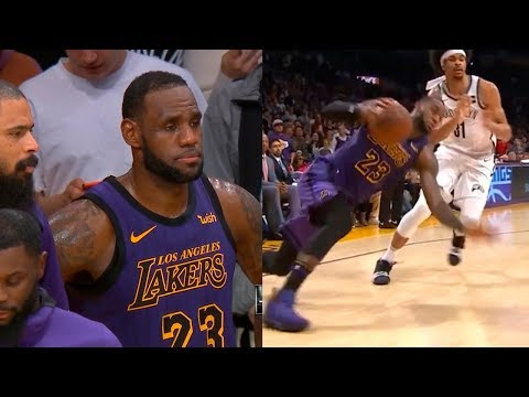 LeBron James heartbroken after he fall to the floor in final seconds | Lakers vs Nets