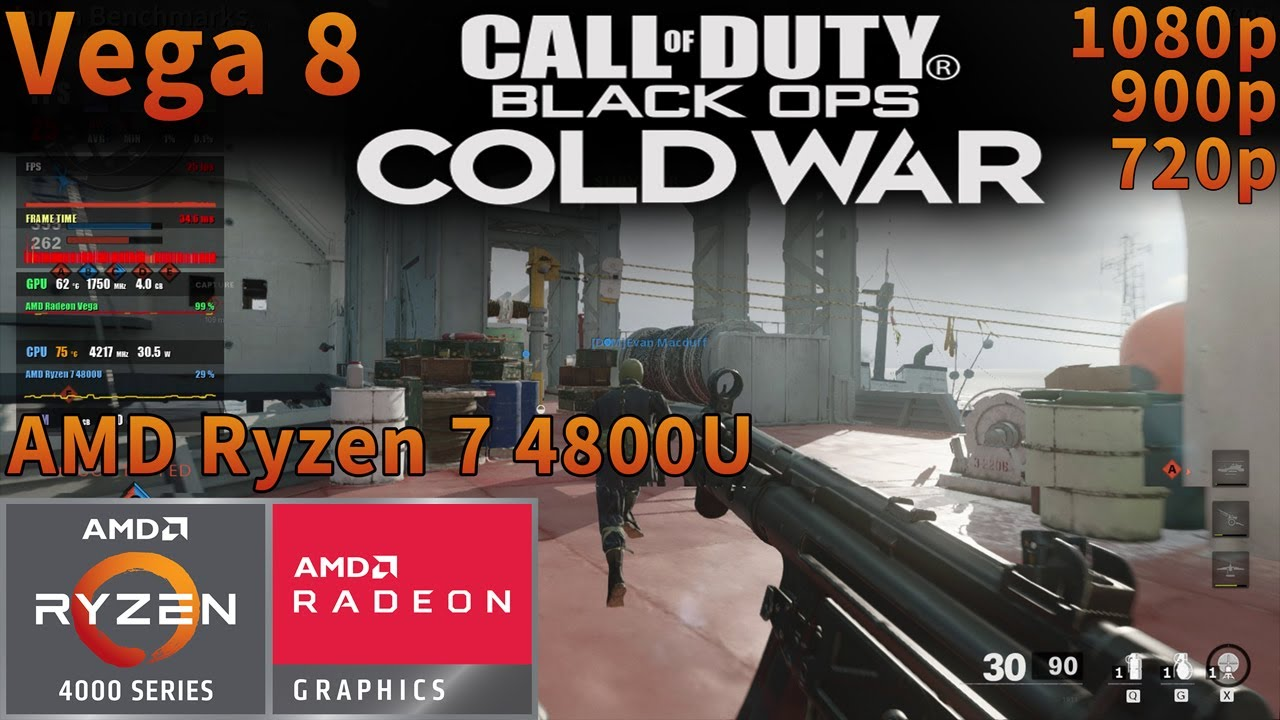 Call of Duty: Black Ops Cold War | AMD Ryzen 7 4800U APU | Vega 8 | 1080p 900p 720p