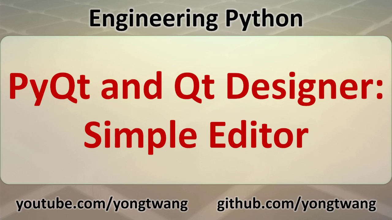 Python Tutorial 17F: PyQt and Qt Designer - Simple Editor