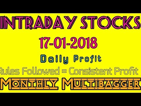Day trading stocks 17-01-2018  Best stocks with huge potential for intraday