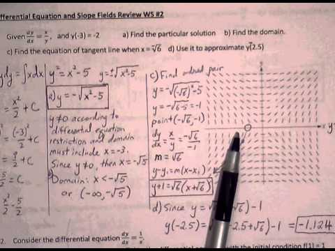 Calculus AB Ch.6 Differential Equations Worksheet #2 (1 of 2) - YouTube