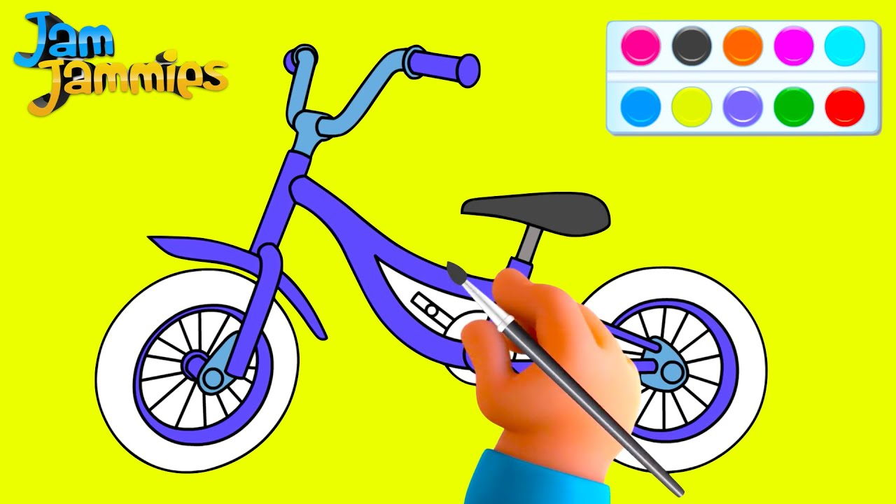 Draw and Color   How To Draw A Bicycle   Drawing For Kids   Colouring For Children 2021