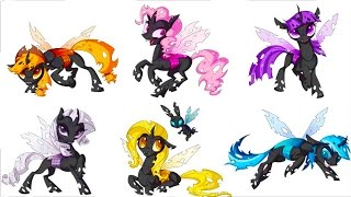 my little pony mane 6 transforms into elements of disharmony mlp coloring videos for kids