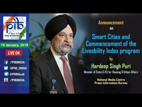 Union Minister Hardeep S. Puri announces Smart Cities & Commencement of Liveability Index programme