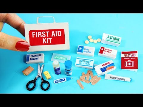 DIY Miniature First Aid Kit -  Accessories, Band Aids, Thermometer, Medicine - DIY Tutorial
