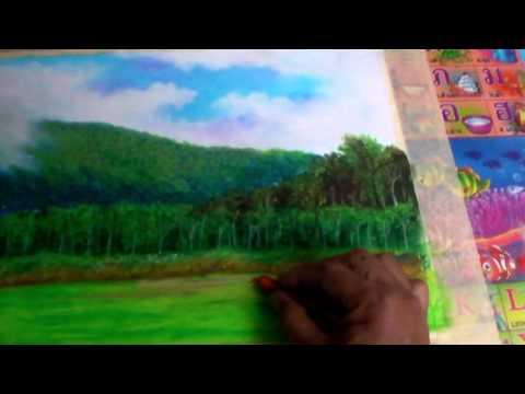 วาดภาพทิวทัศน์สีชอลค์เทียน 4