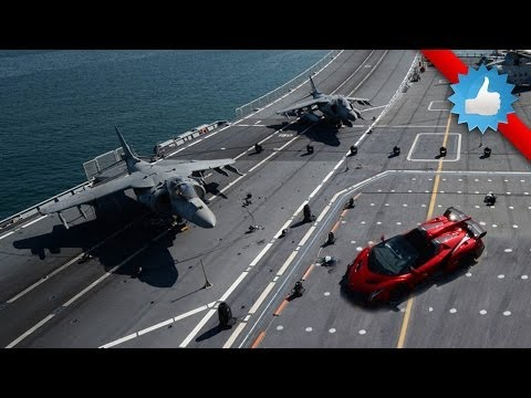 Lamborghini Veneno Roadster On Aircraft Carrier