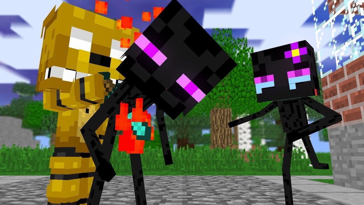 Monster School: Enderman Dies |SFM |Two Evil Eyes End - Minecraft Animation