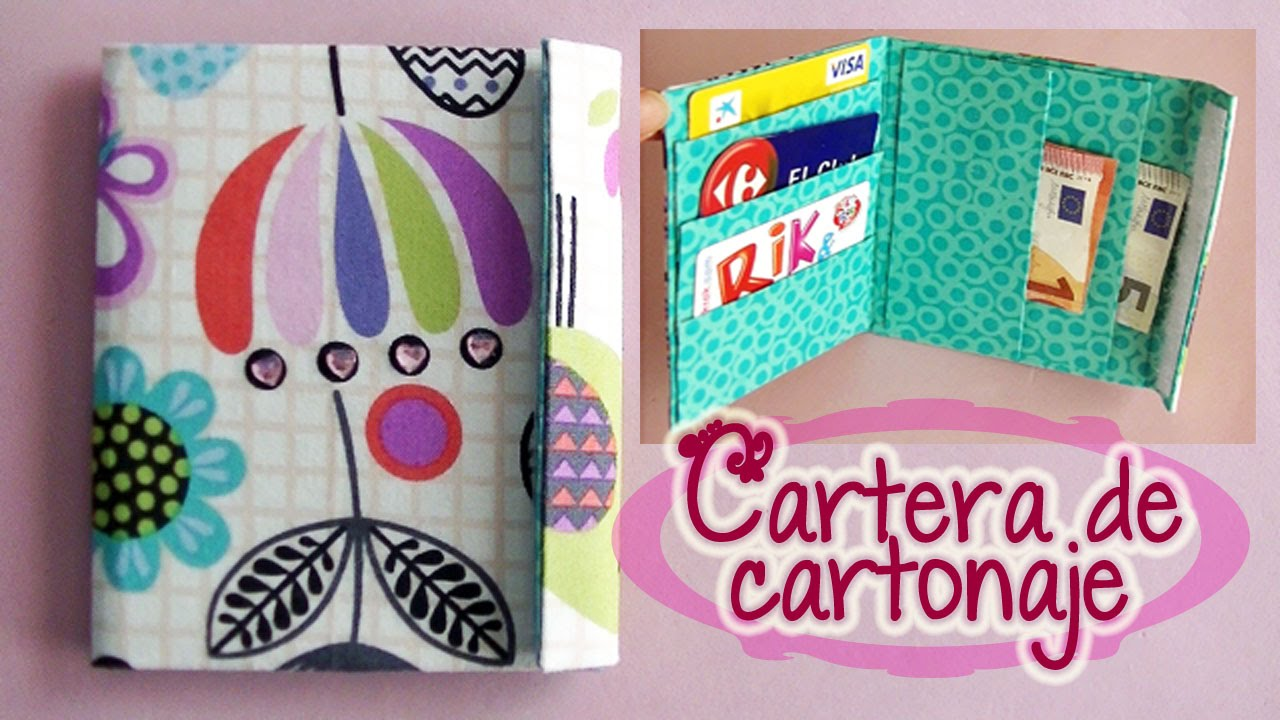 Cartera de tela y cart n reciclado wallet fabric and - Manualidades de tela faciles ...