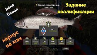 Русская рыбалка 4 река Белая Хариус Задание квалификации мах 3 1