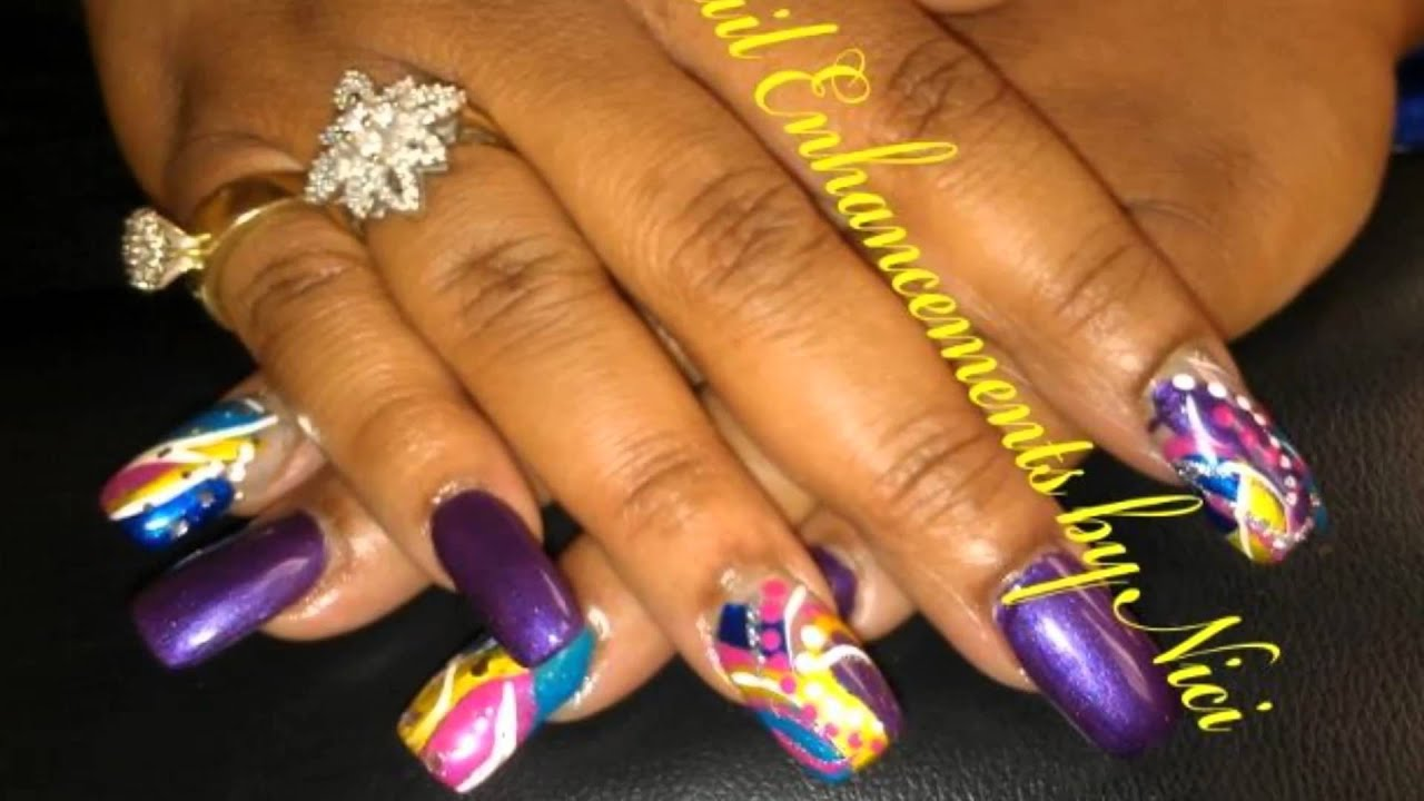 Nail Enhancements by Nici Freestyle Nail Designs - YouTube