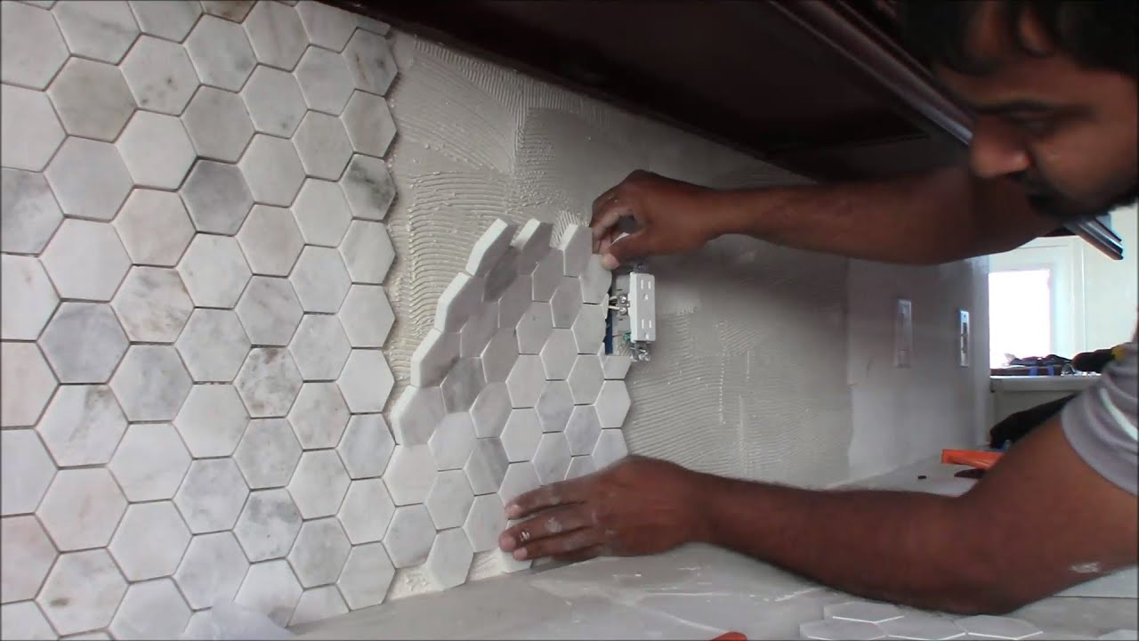 how to install backsplash in kitchen 3 inch hexagon mosaic tile