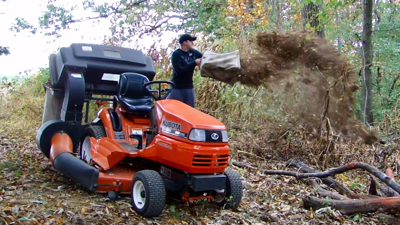 Picking Up Leaves With The Kubota Tg1860 Diesel Tractor