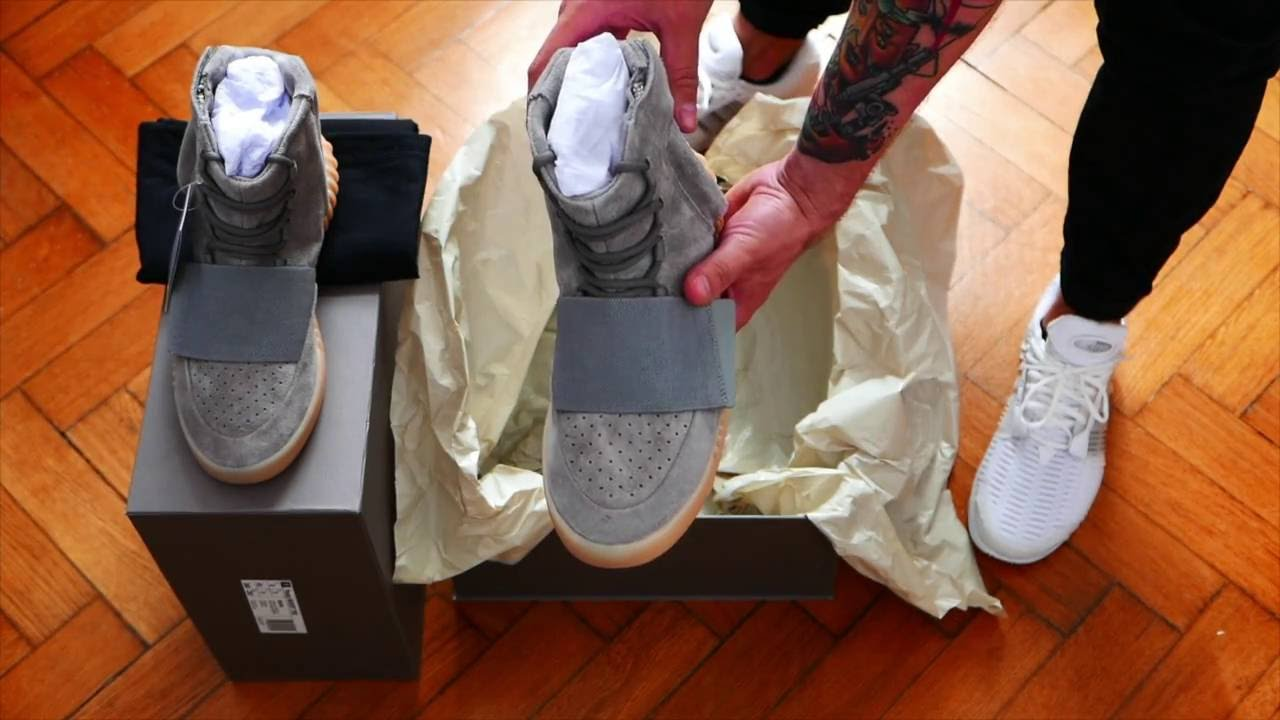 7ee42ccd0d2e01 Tenisufki UNBOXING  adidas Yeezy Boost 750  Light Grey  - YouTube