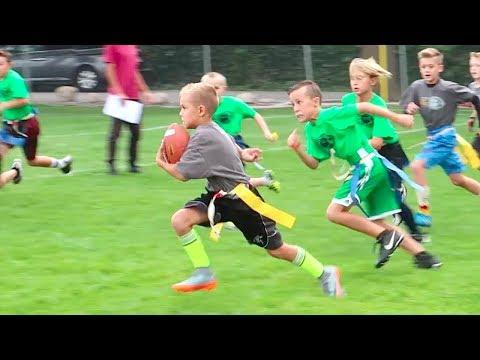 KID SCORES TOUCHDOWN AT FLAG FOOTBALL GAME! 🏈