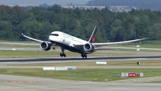 Air Canada Boeing 787-8 landing & takeoff at Zurich Airport