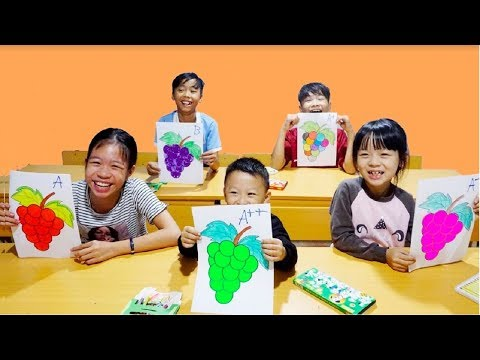 Hunter Kids Go To School Learn Colors with Colorful Fruit Grape    Classroom Funny Nursery Rhymes