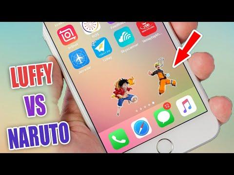 Luffy vs Naruto đánh nhau trên màn hình iPhone