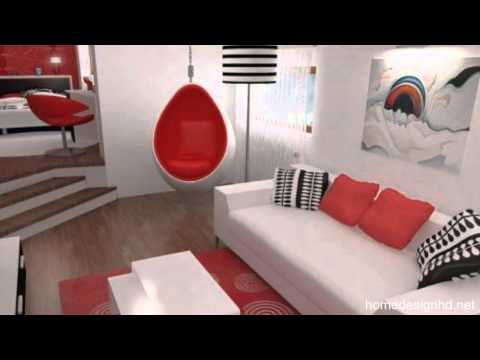 Inspiring Contemporary Bedroom In Red, Black And White Hd