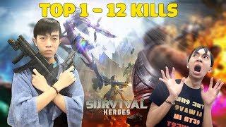 CrisDevilGamer TOP 1 12 KILLS trong SURVIVAL HEROES GAMOTA