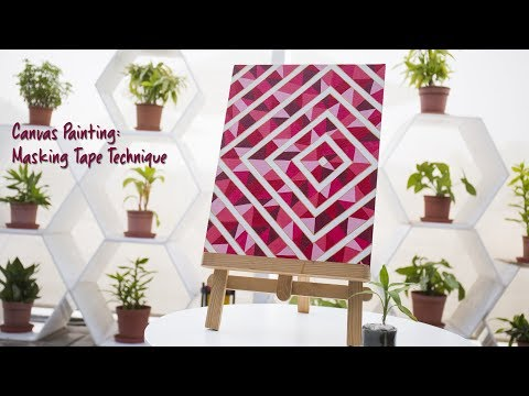 Canvas Painting Masking Tape Technique Youtube