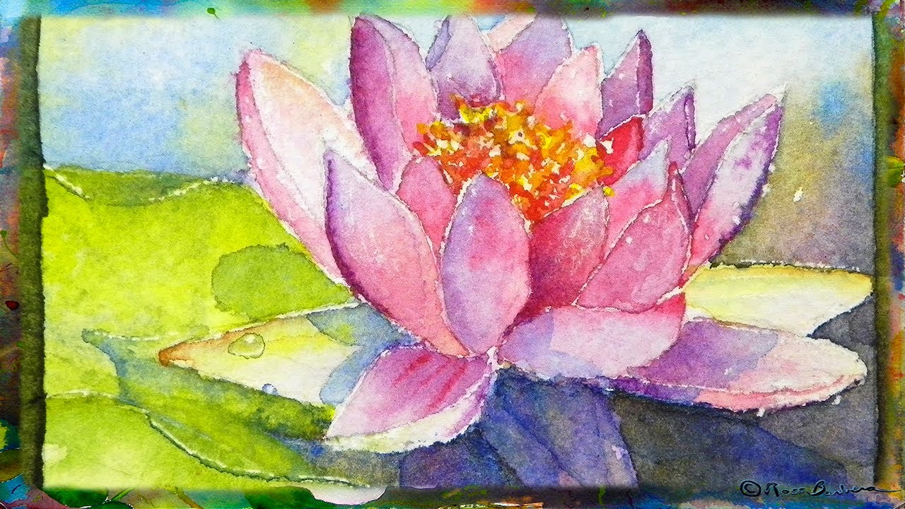How to paint the waterlily with lotus flower miniature watercolor how to paint the waterlily with lotus flower miniature watercolor painting youtube izmirmasajfo