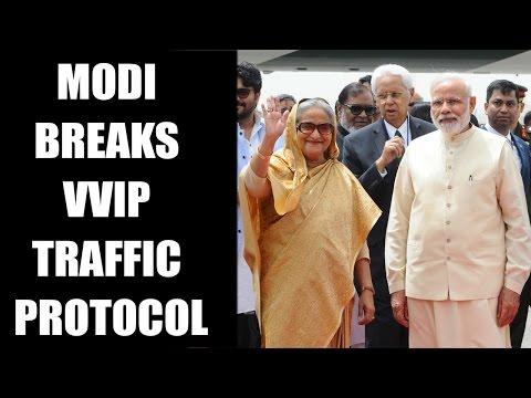 PM Modi travels in 'Normal' traffic to receive Bangladesh PM Sheikh Hasina   Oneindia News