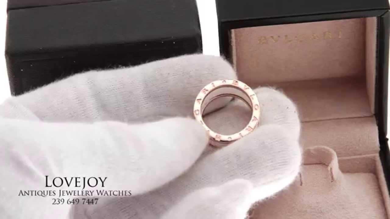 bvlgari bzero1 four band 18kt rose gold and white ceramic ladies ring size 7 youtube