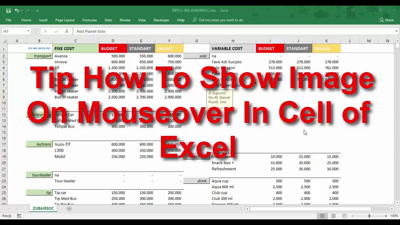 Tip How To Show Image On Mouseover In Cell of Excel