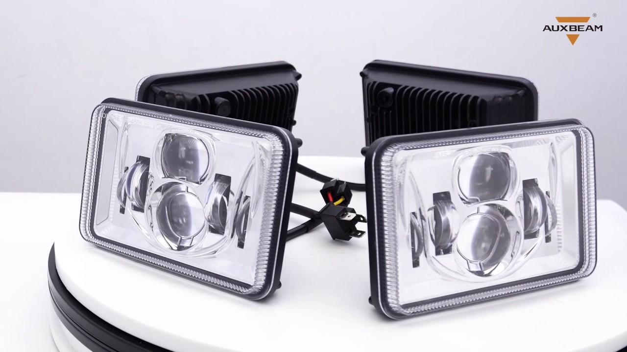 4X6 Inch 55W Rectangular Hi-Lo Beam LED Headlight (Chrome, 4pcs/set)