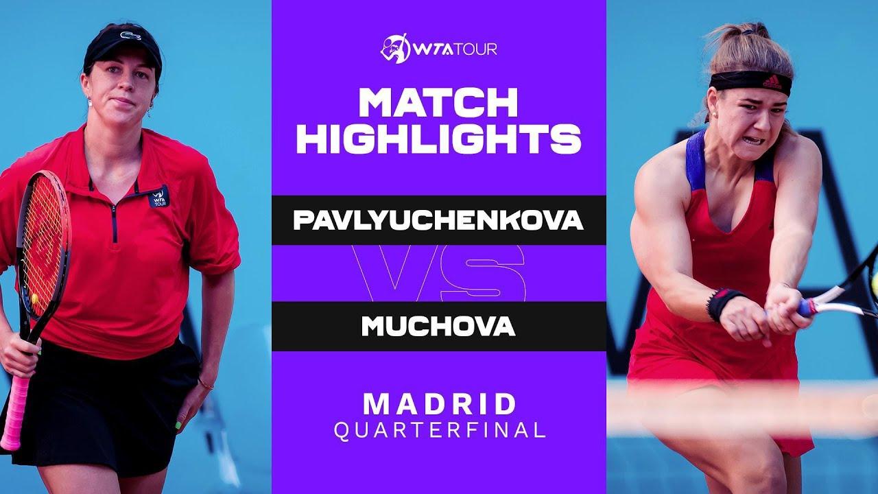 Anastasia Pavlyuchenkova vs. Karolina Muchova   2021 Madrid Quarterfinal   WTA Match Highlights