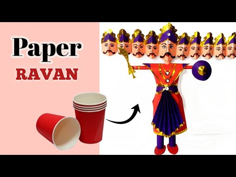 How to make ravan with paper/dussehra craft for kids/paper cup craft/ravan kaise banate hain