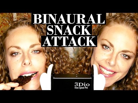 ASMR Snack Attack Eating Sounds! Binaural Whisper & Mouth Sounds; Crinkling, Crunchy, Tapping